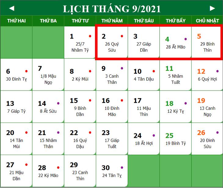 lịch nghỉ lễ quốc khánh 02/09 năm 2021
