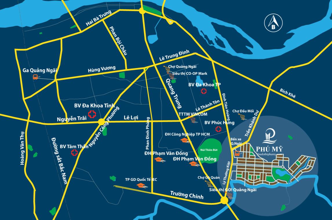 diện tích đất khu đô thị phú mỹ quảng ngãi