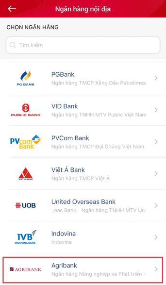 chọn ngân hàng để liên kết viettelpay